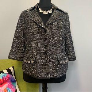 Lane Bryant Black White Tweed Blazer Jacket 24